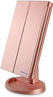 WEILY Miroir de Maquillage Éclairé, 1x/2x/3x à Grossissement avec Écran Tactile à 36 LED et Chargement USB, Support Réglab...