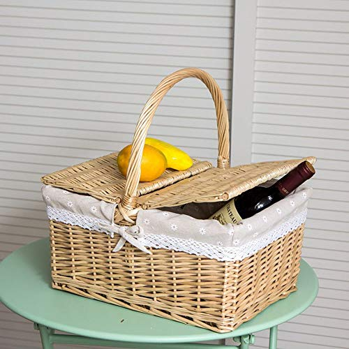 BLWX-Picknick mand - Rotan Picknick Mand Winkelmandje Rieten Gift Fruit Mand Opbergmandje Huishoudelijke Weven Mand (40x19x30cm) Picknick mand