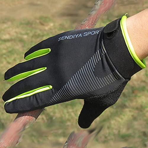 1 par de Guantes de Bicicleta con Pantalla táctil para Dedos completos, Guantes para Hombres y Mujeres, Manoplas de Verano Transpirables-Green-1-XL
