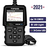 OBD2 Scanner TOPDON AL500 Code Reader Check Engine Light Diagnostic Tool with All OBD2 Functions, Turn Off MIL, I/M Readiness, O2 Sensor Test, Mode 6, Built-in Help Menus, Free Update DTC Lookup LED