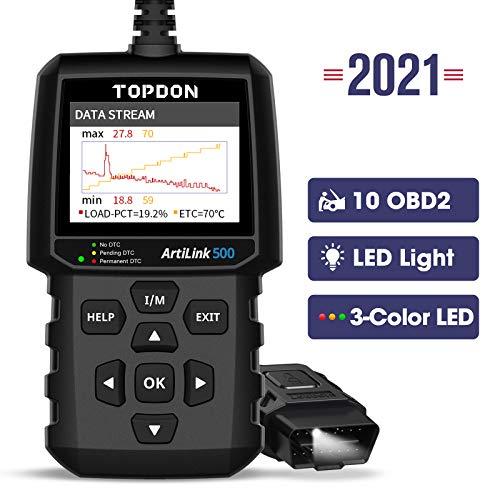 TOPDON OBD2 diagnosegerät AL500 Auto OBDII Scanner mit 10 OBD2-Funktionen, Universal Deutsch-Fehlercode-Auslesegerät, Free Update, DTC-Suche, Daten drucken, 7 Sprachen