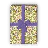 Elegantes gemustertes Geschenkpapier Set (4 Bogen), Dekorpapier, Papier zum Einpacken mit Paisley Muster, grün, universal Packpapier um schöner zu schenken 32 x 48cm