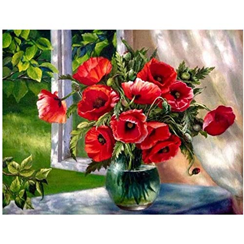 5D DIY Diamond Painting by Number Kit Red Flower Round Drill,90x70cm Adults and Kids Full Drill Beads Crystal Rhinestone Embroidery Cross Stitch Picture Supplies Arts Craft for Home Wall Decor U4146