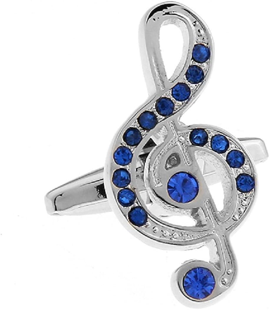 MRCUFF Treble Clef Blue Crystals Music Note Pair Cufflinks in a Presentation Gift Box & Polishing Cloth