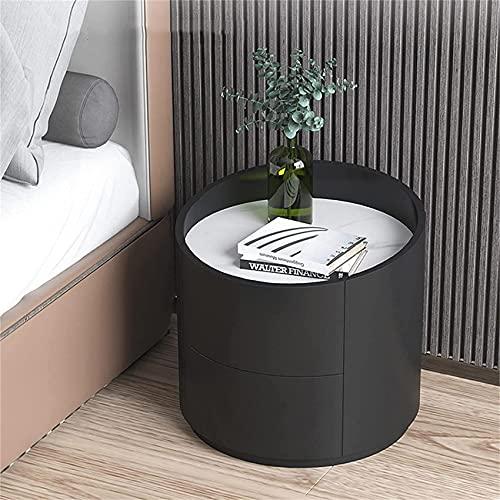 ZXLRH Comodino in Legno Moderno Semplice Camera da Letto, Comodino con 2 cassetti processo di verniciatura a Forno, Comodino Rotondo, lastra di Ro