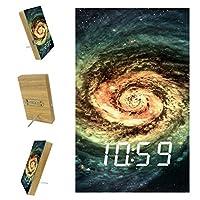 ベッドルーム用デジタル目覚まし時計キッチンオフィス3アラーム設定ラジオウッドデスククロック-ユニバースギャラクシースワール星雲スペース