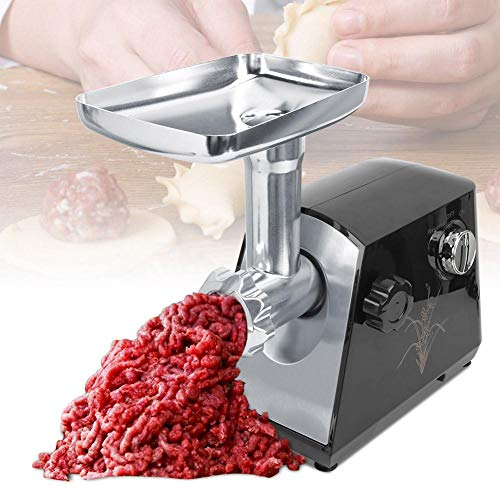 Shanbor Fleischhackmaschine Clyster-Maschine, elektrische Fleischwolf, Fleischwolf, einfach zu bedienen BESTWELL EU 220-240V Fleischwolf, für die Küche zu Hause(Black)