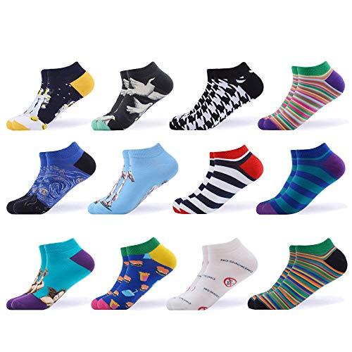 WeciBor Calcetines cortos Mujer Estampados Mujer Ocasionales Calcetines Divertidos Impresos de Algodón de Pintura de Arte Calcetines Verano Tobillo Calcetines de Colores de moda (EUR 37-43, ESB062-23)