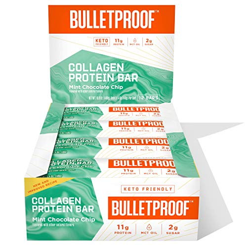 Collagen Protein Bars, Mint Chocolate Chip, 11g Protein, 12 Pack, Bulletproof Grass Fed Healthy Snacks, Made with MCT Oil, 2g Sugar, No Added Sugar
