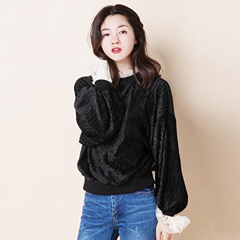 Xuanku Frau Lose Wolle Pullover Nähen Net Net Net Garn Semi-Hoher Kragen Laterne Muffe Farbe T-Shirt B076FQ5FTF  Ästhetisches Aussehen ad706b