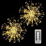 Kansas Guirnalda de luces con diseño de fuegos artificiales, luz LED, 150 ledes, cadena de luces de Navidad con mando a distancia, lámpara decorativa colgante para casa, boda, jardín (2 unidades)