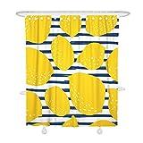 Oduo Duschvorhänge für Badewannen - Zitrone Obst 3D Drucken Duschvorhang Wasserdicht Antischimmel Bad Vorhang Waschbar Badewanne Vorhang mit 12 Duschvorhangringe (Blaue Streifen,90x180cm)