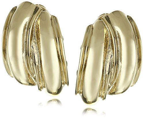 Anne Klein Gold Tone Button Clip-on Earrings