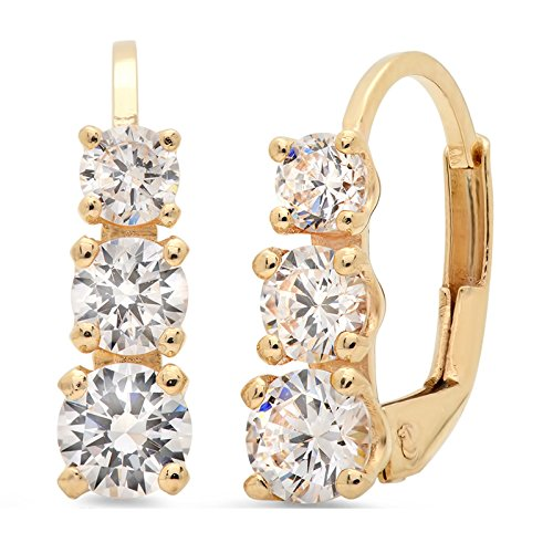 2.70 CT 3 Stone Round Cut Simulated Diamond Earrings 14K Yellow Gold Past Present Future Lever back