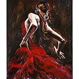 ERQINGYH Pintura Al Óleo De Caligrafía Pinturas Al Óleo para La Pared del Salón Bailarina De Flamenco Española En Vestido Rojo Pintado A Mano Lienzo Arte