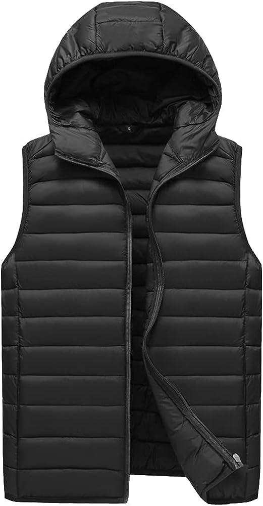 Men Down Vest Zipper Big Size Outdoor Casual Hooded Outwear Padded Puffer Vest