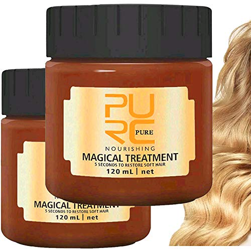 2PCS PURC Magical Hair Treatment Mask Advanced Molecular Hair Roots Treatment Professtional Hair Conditioner 5 Seconds Repairs Damage Restore Soft Hair Nourishing for Tonic Keratin Hair (120ML, 2PCS)