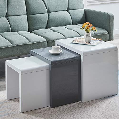 Set di 3 tavolini da salotto in legno MDF, colore bianco e grigio lucido, impilabili, impilabili