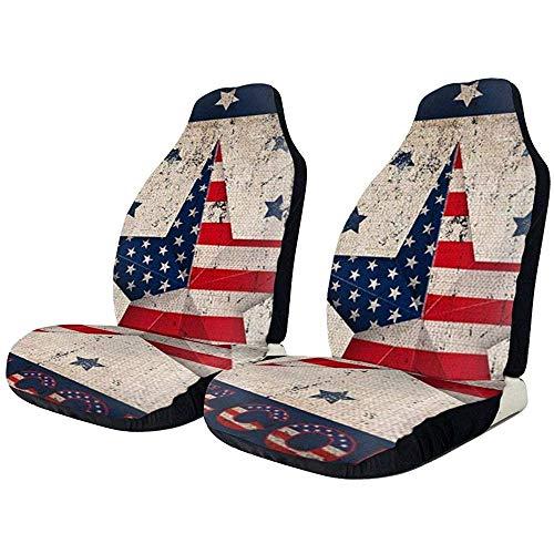 Fall Ing Autostoelhoezen Vintage Patriotic Star America Vlag met aparte sterren stoelhoezen vooraan, geschikt voor de meeste auto's