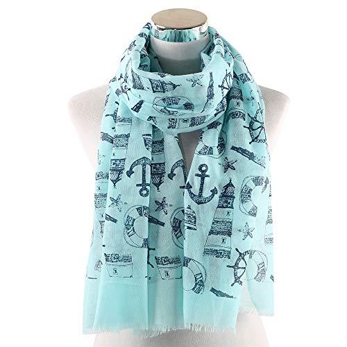 PGDD nieuw wit blauw nautisch thema sjaal anker jacht pak accessoires symbolen wiel print sailor sjaals zee oceaan