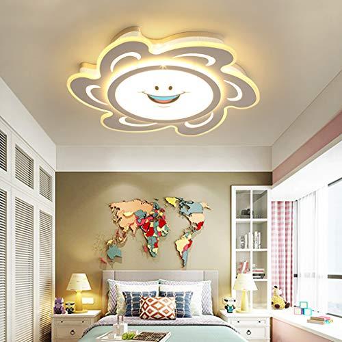 Moderno Baby The Sun Lámpara De Techo Lámpara De Dormitorio Para Niños LED Para Habitación De Niños Lámparas De Iluminación De Techo De Dibujos Animados Regulables Sombra De Acrílico Lámpara,42CM 24W