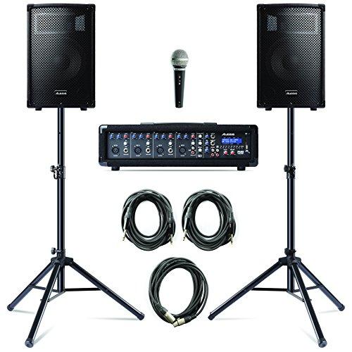 Alesis PA System in a Box Bundle - 280W PA Anlage, 4-Kanal Mixer, zwei 10 Zoll Passiv 2-Wege Lautsprecher mit Stative, Lautsprecherkabel und Mikrofon mit Kabel