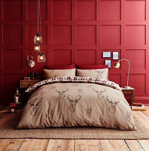 Rouge Cerf Plaid Highland Coton Réversible King Size ( Rouge Uni Drap Housse - 152 X 200cm + 25) Rouge Uni Femme au Foyer Taie D'Oreiller 6 Pièces Ensemble de Literie