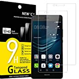 NEW'C Lot de 2, Verre Trempé Compatible avec Huawei P9 Lite, Film Protection écran sans Bulles d'air Ultra Résistant (0,33mm HD Ultra Transparent) Dureté 9H Glass