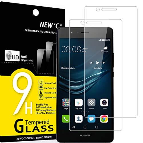NEW'C 2 Pezzi, Vetro Temperato Compatibile con Huawei P9 Lite, Pellicola Prottetiva Anti Graffio, Anti-Impronte, Durezza 9H, 0,33mm Ultra Trasparente, Ultra Resistente