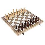 GIGIEroch Juego de ajedrez Ajedrez Set de Viaje 3 en 1 Ajedrez Backgammon Damas fijado for Adultos de los niños Plegables portátiles de Juego de ajedrez Tradicional del Juego de ajedrez