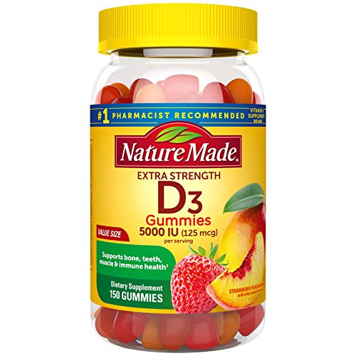 Extra Strength Vitamin D3 5000 IU (125 mcg), 150 Gummies, High Potency Vitamin D Gummies for Adults, Vitamin D Helps Support Immune Health, Strong Bones and Teeth, & Muscle Function