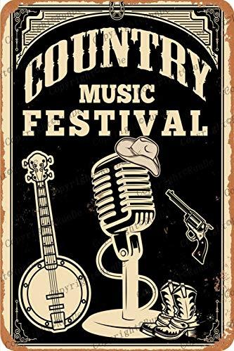 country music festival poster Cartel de chapa Vintage, placa de pintura de hierro, decoración de pared, letrero de metal, café, cerveza, pub y cueva del hombre, cartel de arte retro de 8 * 12 pulgadas