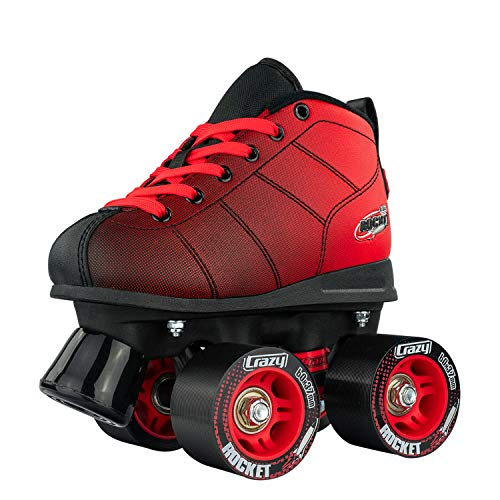 Crazy Skates Rocket Roller Skates for Boys and Girls - Great Beginner Kids Quad Skates - Black/Red Patines (Size Jr13)