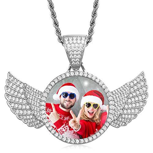Collar de medalla con foto personalizada Collar personalizado con etiqueta de perro Collar de ala Collar de hip hop(Plata 14)