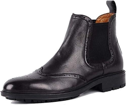 QQM botas hombres Botines Chelsea botas Cuero zapatos negro marrón Estilo Británico Clásico Inteligente Formal Casual Invierno Talla 38-44
