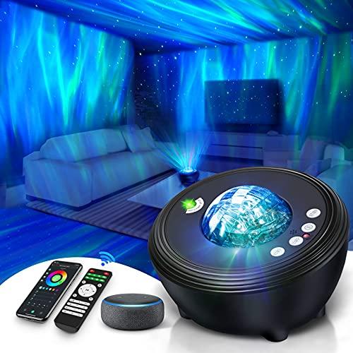 Lifellery LED Sternenhimmel Projektor Aurora Projektor mit Fernbedienung&APP Funktioniert mit Alexa/Musikspieler/14 Szenen/8 Arten Weißem Rauschen/Timer, Geeignet für Kinder Erwachsene Party Geschenk