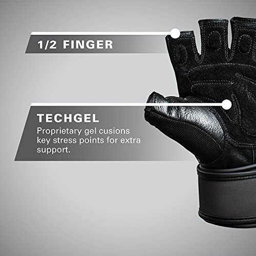 Harbinger Training Grip Wristwrap Weightlifting Gloves with TechGel-Padded Leather Palm (Old Style), XX-Large