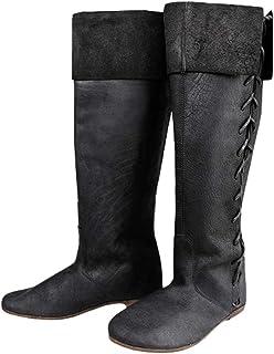 Uomo Stivali Lunghi - retrò Medioevo Gotico Stivali da Cavaliere Lace-Up Stivali di Faux Pelle Punta Rotonda Stivali Piatt...
