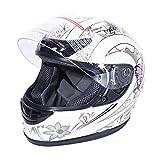 XFMT DOT Adult Motorcycle Flip Up Full Face Helmet Street Dirt Bike ATV Helmets (White Pink Butterfly, Large)
