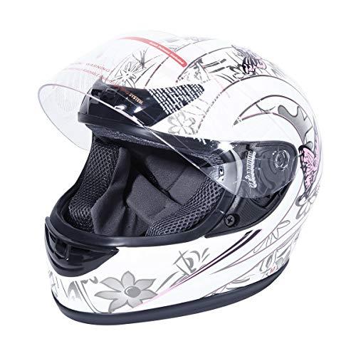 XFMT DOT Adult Motorcycle Flip Up Full Face Helmet Street Dirt Bike ATV Helmets (White Pink Butterfly, Medium)