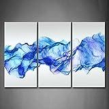 First Wall Art - Abstracto Fumar Cuadros en Lienzo Líneas Onduladas Azules Decoracion de Pared 3 Piezas Modernos Mural Fotos para Salon,Dormitorio,Baño,Comedor