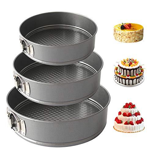 YM26 Springform Set Runde Kuchenform,Professionelle Kohlenstahl-Tortenform mit 3 Runden Kuchenpfannen und Schnallendesign zum Backen Verschiedener Kuchen,Brot und Käse (Durchmesser: 16/18/20 cm)