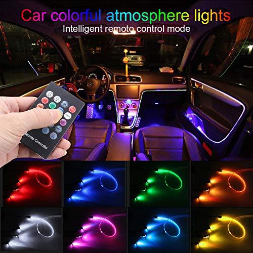 TABEN LED-Neonleuchtleisten für das Auto, 4-teiliges Set, mit 8 Farben, zur Autodekoration, Stimmungslicht, Innenraumbeleuchtung, wasserdicht, DC12V (1 Set)
