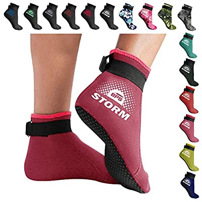 BPS 'Storm Sock' 3mm Neoprene Socks - Foot Protection Socks - Socks for Beach Volleball, Water Sports, Surfing, Diving, Snorkeling, Fin Socks - Low Cut (Rose Pink/White Accent, XS)