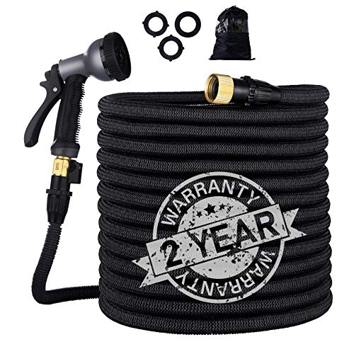 Gospire 100ft Expandable Garden Hose - Strongest Flexible Water Hose with Triple Latex Core+On/Off Valve+3/4' Connectors+8 Pattern Spray and Storage Sack - Doesn't Leak & Kink, Extra Strength Fabric