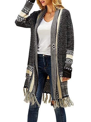 Ferbia Women Boho Cardigan Sweater Long Open Front Maxi Knit Sweaters Aztec Tribal Tassel Fringe Thin Coat