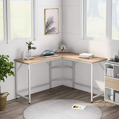 ModernLuxe Computer Desk Office Desk L-Shaped Wood Corner Desk Computer Workstation Large PC Gaming Desk Home Office Table Natural