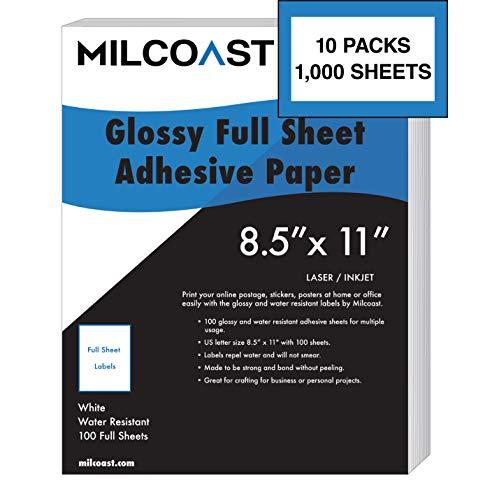 Milcoast Hoja completa de 8.5 pulgadas x 11 pulgadas etiquetas adhesivas de papel adhesivo brillante resistente al agua para impresora láser o inyección de tinta (1.000 hojas completas)