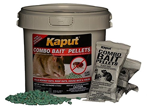 KAPUT Mouse, Rat & Vole COMBO Bait Pellets - Kills rodents AND their FLEAS! | (32 x 2oz Place Packs)