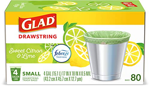Glad Small Kitchen Drawstring Trash Bags – 4 Gallon Green Trash Bag, Febreze Sweet Citron & Lime, 80 Count (Package May Vary)